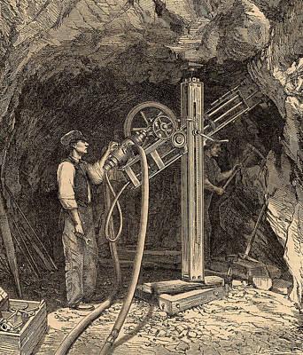 Drilling Machine With Diamond Bit Poster