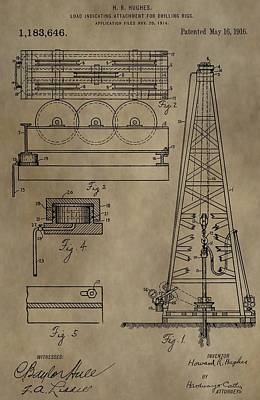Drilling Oil Rig Patent Poster by Dan Sproul