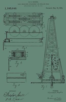Drilling Rig Patent On Green Poster by Dan Sproul