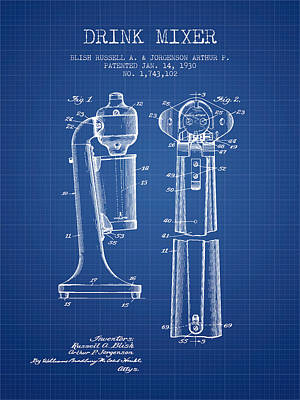 Drink Mixer Patent From 1930 - Blueprint Poster by Aged Pixel