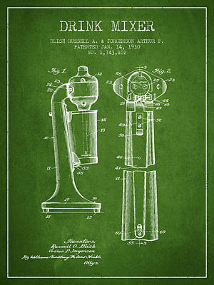 Drink Mixer Patent From 1930 - Green Poster