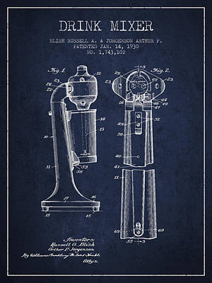 Drink Mixer Patent From 1930 - Navy Blue Poster by Aged Pixel