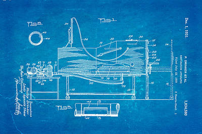 Drinker Iron Lung Patent Art 1931 Blueprint Poster by Ian Monk
