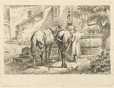 Drinking Horses At A Fountain, Johannes Mock Poster