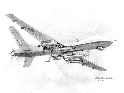 Poster featuring the drawing Drone Mq-9 Reaper by Jim Hubbard
