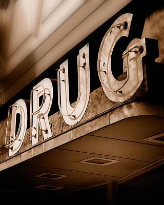 Drug Store Sign - Vintage Downtown Pharmacy Poster by Steven Milner