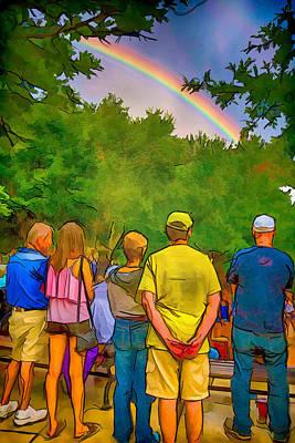Drum Circle Rainbow Poster by John Haldane