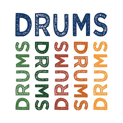 Drums Cute Colorful Poster by Flo Karp