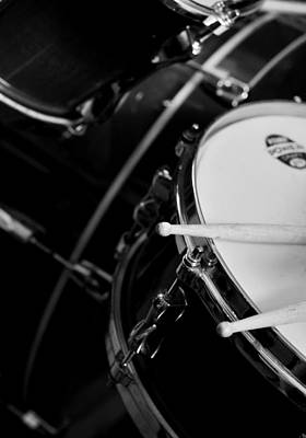 Drums Sticks And Drums Black And White Poster by Rebecca Brittain