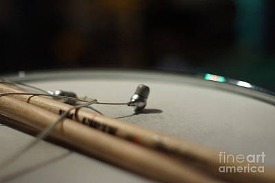 Drumsticks And Ear Buds Poster by Lynda Dawson-Youngclaus