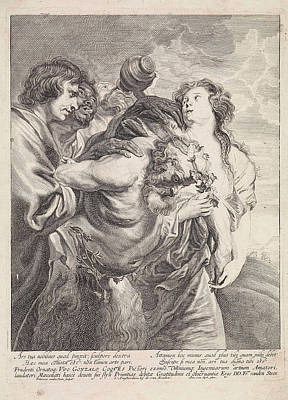 Drunken Silenus Supported By Bacchantes, Franciscus Van Der Poster by Franciscus Van Der Steen And Gerard Van Keulen