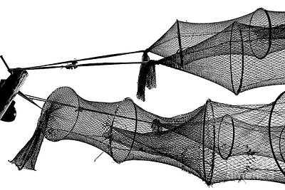 Drying Fishing Trap Nets On Poles Poster