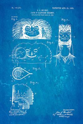 Du Ket Halloween Helmet Patent Art 1903 Blueprint Poster by Ian Monk