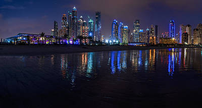 Dubai - Marina Skyline Panorama At Night Poster by Jean Claude Castor