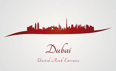 Dubai Skyline In Red Poster