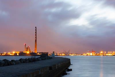 Dublin Port At Night Poster by Semmick Photo