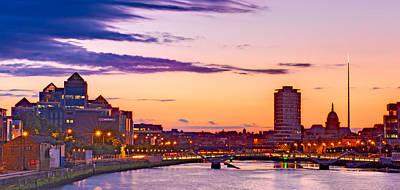 Poster featuring the photograph Dublin Skyline At Dusk / Dublin by Barry O Carroll