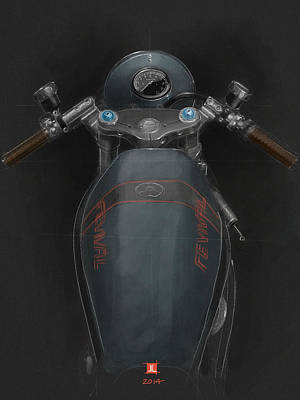 Poster featuring the drawing Ducati by Jeremy Lacy