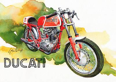 Ducati Racer Poster by Yoshiharu Miyakawa