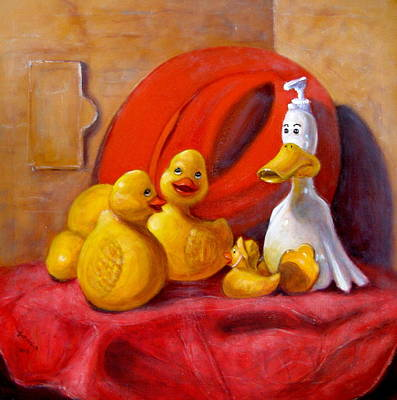 Duck Soap With Red Hat Poster by Donelli  DiMaria
