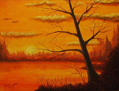 Poster featuring the painting Duck Sunset by Dan Wagner
