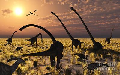 Duckbill Dinosaurs And Large Sauropods Poster by Mark Stevenson