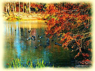 Ducks At Hinckley Lake Boathouse Poster by Joan  Minchak