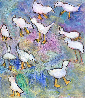 Poster featuring the mixed media Ducks by Catherine Redmayne