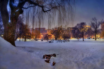 Ducks In Boston Public Garden In The Snow Poster