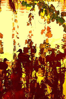 Ducks On Red Lake 2 Poster by Amy Vangsgard