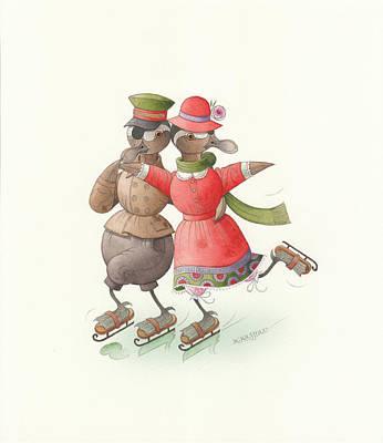 Ducks On Skates 01 Poster by Kestutis Kasparavicius