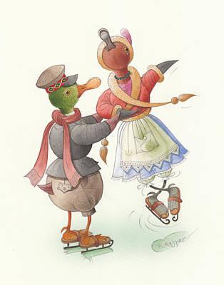 Ducks On Skates 08 Poster by Kestutis Kasparavicius