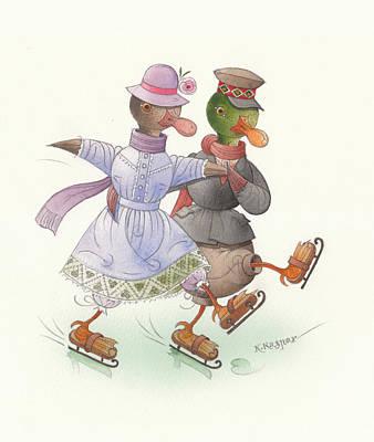 Ducks On Skates 10 Poster by Kestutis Kasparavicius