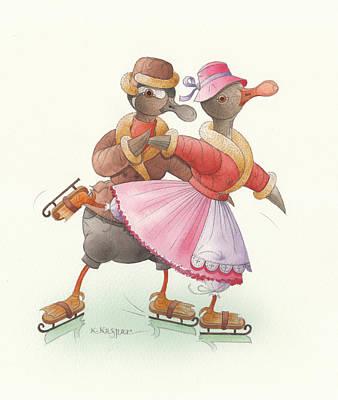 Ducks On Skates 12 Poster by Kestutis Kasparavicius