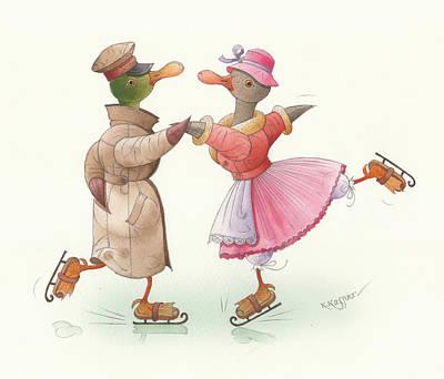 Ducks On Skates 17 Poster by Kestutis Kasparavicius