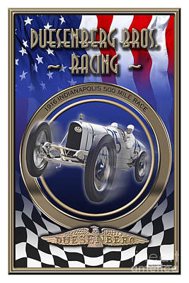 Poster featuring the photograph Duesenberg Bros. Racing by Ed Dooley