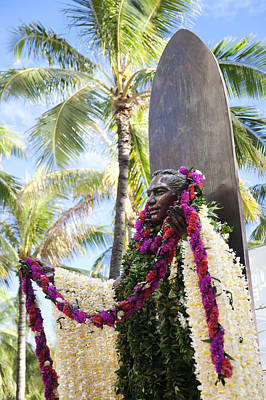 Duke Kahanamoku Covered In Leis Poster by Brandon Tabiolo