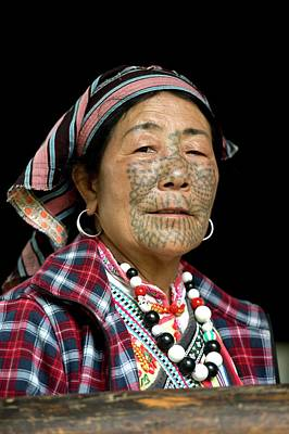 Dulong Woman With Facial Tattoos Poster by Tony Camacho