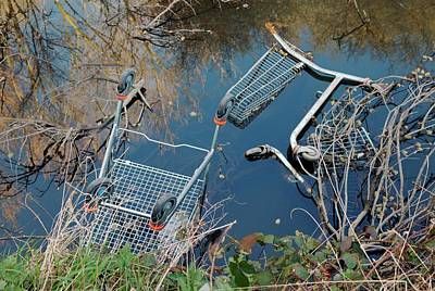 Dumped Shopping Trolleys Poster by Frank M Hough