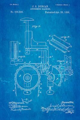 Duncan Addressing Machine Patent Art 1896 Blueprint Poster by Ian Monk