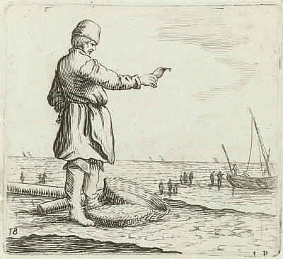 Dune Landscape With A Fisherman With Fish In Hand Poster by Gillis Van Scheyndel (i)