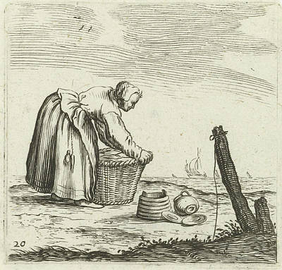 Dune Landscape With A Woman Bent Over A Basket Poster by Gillis Van Scheyndel (i) And Jan Porcellis