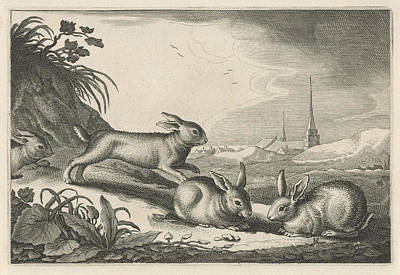 Dune Landscape With Rabbits, Reinier Van Persijn Poster by Reinier Van Persijn And Jacob Gerritsz Cuyp And Nicolaes Visscher (i)
