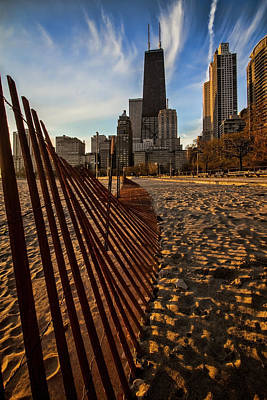 Dunes Fence Leads To John Hancock Building At Sun Rise Poster by Sven Brogren