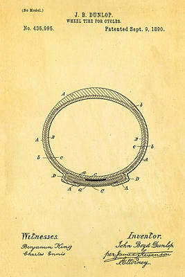 Dunlop Cycle Tire Patent Art 1890 Poster by Ian Monk