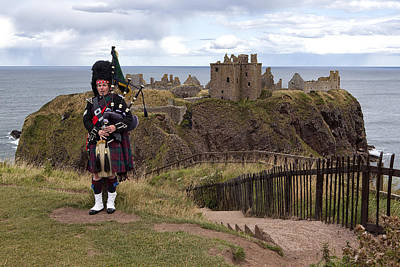 Dunnottar Piper Poster by Eunice Gibb