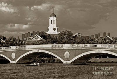 Weeks Bridge Charles River Bw Poster
