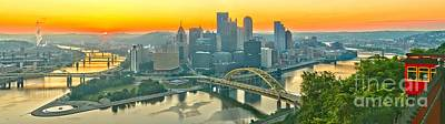 Duquesne Incline Sunrise Poster by Adam Jewell