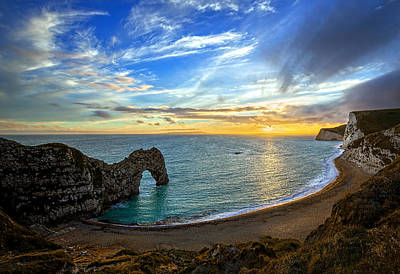 Durdle Door Sunset Poster