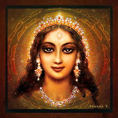 Durga In The Sri Yantra - Dark Poster by Ananda Vdovic